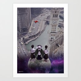 let's look down on everything from the super moon Art Print
