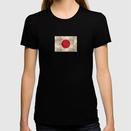 Vintage Aged and Scratched Japanese Flag T-shirt