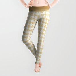 Chic Gold & Ivory Harlequin Pattern Leggings