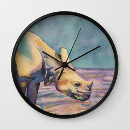 Fine art watercolor batik painting of rhinoceroses drinking water. Wall Clock