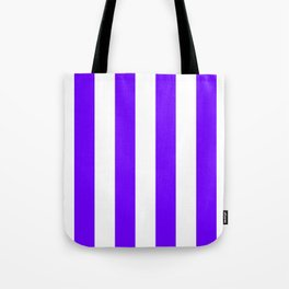 Vertical Stripes - White and Indigo Violet Tote Bag