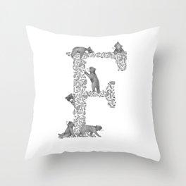 Bearfabet Letter F Throw Pillow