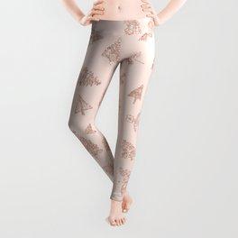 Modern rose gold glitter Christmas trees pattern on blush pink Leggings