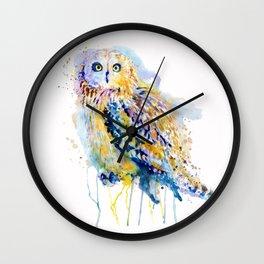 Short Eared Owl Watercolor painting Wall Clock