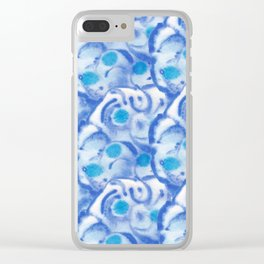 Blue fantasy flowers Clear iPhone Case