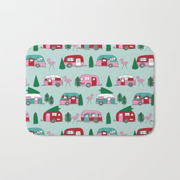 Camper vacation christmas road trip tropical home away from home pattern Bath Mat