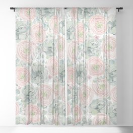Flowers And Succulents White  #buyart #decor #society6 Sheer Curtain