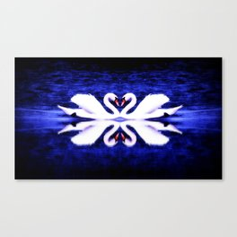 Swans in Love (dark blue-vibrant) Canvas Print