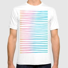 Trendy pink teal watercolor modern stripes pattern MEDIUM Mens Fitted Tee White