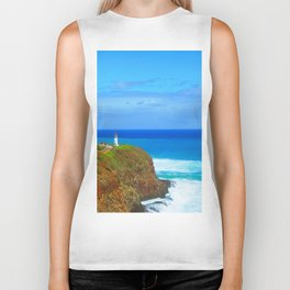 lighthouse on the green mountain with blue ocean and blue sky view at Kauai, Hawaii, USA Biker Tank