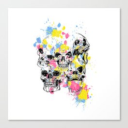 Skeleton Bone - Colored Vintage Skulls Canvas Print