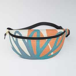 Mid Century Nature Print / Teal and Orange Fanny Pack