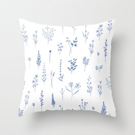 Wildflowers in blue Throw Pillow