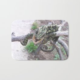 Colourful Chameleon Wrapped Around A Branch Bath Mat