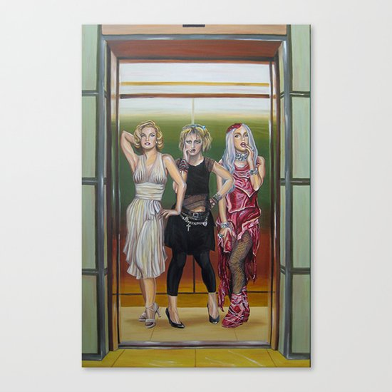 evolution of the scandalous blonde bombshell in an elevator Canvas Print