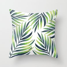 Tropical leaves. White pattern Throw Pillow