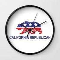 political Wall Clocks featuring California Political Republican Bear Distressed by Republican