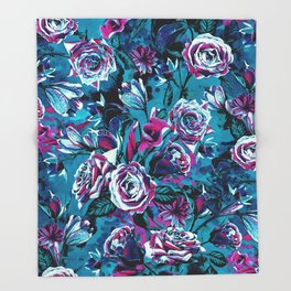 RPE FLORAL VIII BLUE Throw Blanket