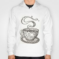 whisky Hoodies featuring She drinks whisky in a tea cup by grishpradip