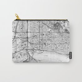 Vintage Map of Long Beach California (1964) BW Carry-All Pouch