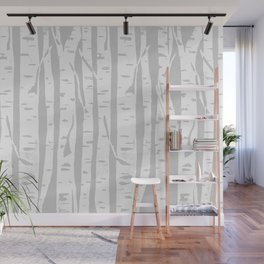 Woodcut Birches Grey Wall Mural