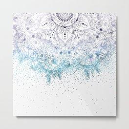 Elegant floral mandala and confetti image Metal Print