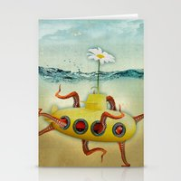 yellow submarine Stationery Cards featuring yellow submarine in an octapuses garden by Vin Zzep