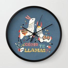 Como te Llamas. Funny Spanish Word Humor. Flowers and two Llamas Wall Clock
