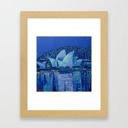 Sydney Opera House at Night - contemporary palette knife city landscape by Adriana Dziuba Framed Art Print