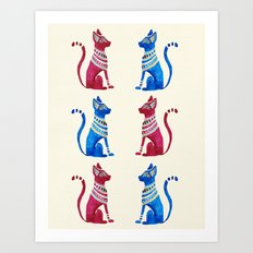 Egyptian cats Art Print