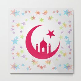 Mosque dome and minaret silhouette Metal Print