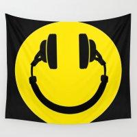 headphones Wall Tapestries featuring Smiley Headphones by monoclekitty