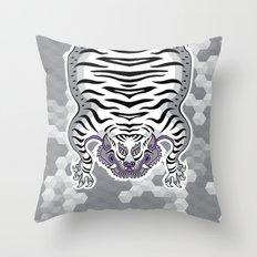 TIBETAN TIGER WHITE (white) Throw Pillow