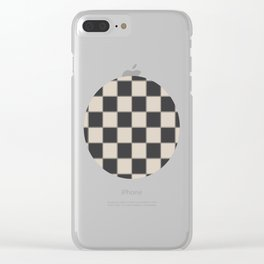 Traditional Checkerboard, Ecru-Beige and Chocolate-Deep Brown Clear iPhone Case