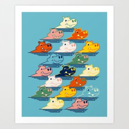 Happy Hippo Family Art Print