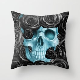 DIGITAL ART PAINTING SKULL ROSES Throw Pillow