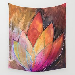 Lotus Dreaming in Colour and Dots Wall Tapestry