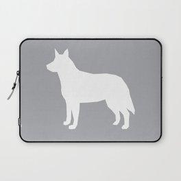 Australian Cattle Dog silhouette portrait dog pattern minimal grey and white Laptop Sleeve