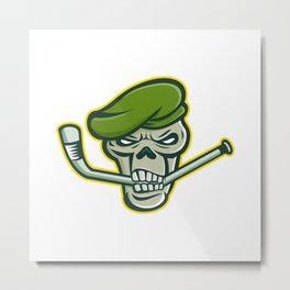 Green Beret Skull Ice Hockey Mascot Metal Print