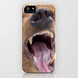 Majestic Scary Giant Grown Grizzly Bear Roaring Open Jaws Close Up Ultra HD iPhone Case