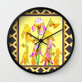 Yellow-Charcoal Patterned Butterflies Pink-Yellow Iris Art Wall Clock