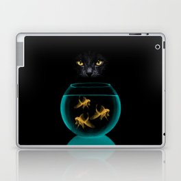 Black Cat Goldfish Laptop & iPad Skin