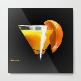 Orange Martini Cocktail Metal Print
