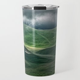 The hills of Castelluccio during a thunderstorm Travel Mug