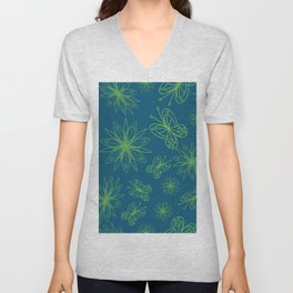 geometrical floral pattern with leaves and flowers linocut style Unisex V-Neck
