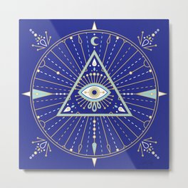 Evil Eye Mandala – Navy Metal Print