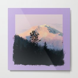 Mountain Sunrise - Purple Edges Metal Print