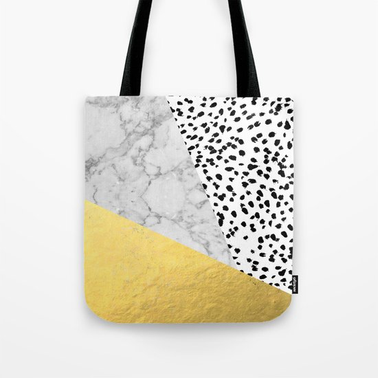 Marble Gold Dots - modern hipster trendy shiny gold foil cell phone case iphone dorm college Tote Bag