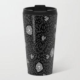 Black and white minimal linocut abstract pattern graphic scandi design Travel Mug