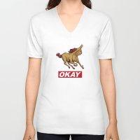 okay V-neck T-shirts featuring OKAY by Thomcat23
